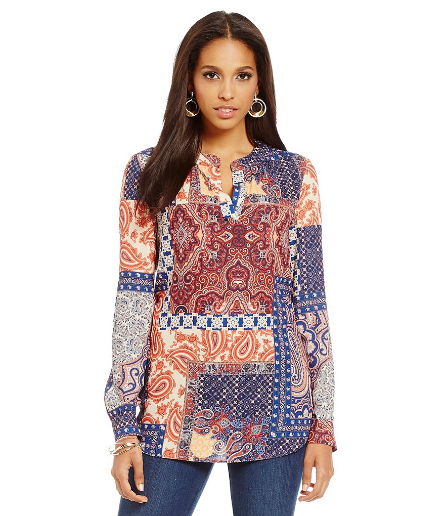 Cremieux Aneko Printed V-Neck Long Sleeve Blouse