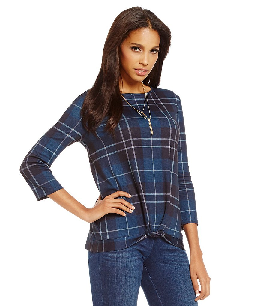 Cremieux Rina Plaid Knit Top