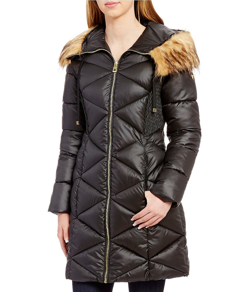 Guess Mock Neck Zip-Front Faux-Fur Hooded Quilt Puffer Coat