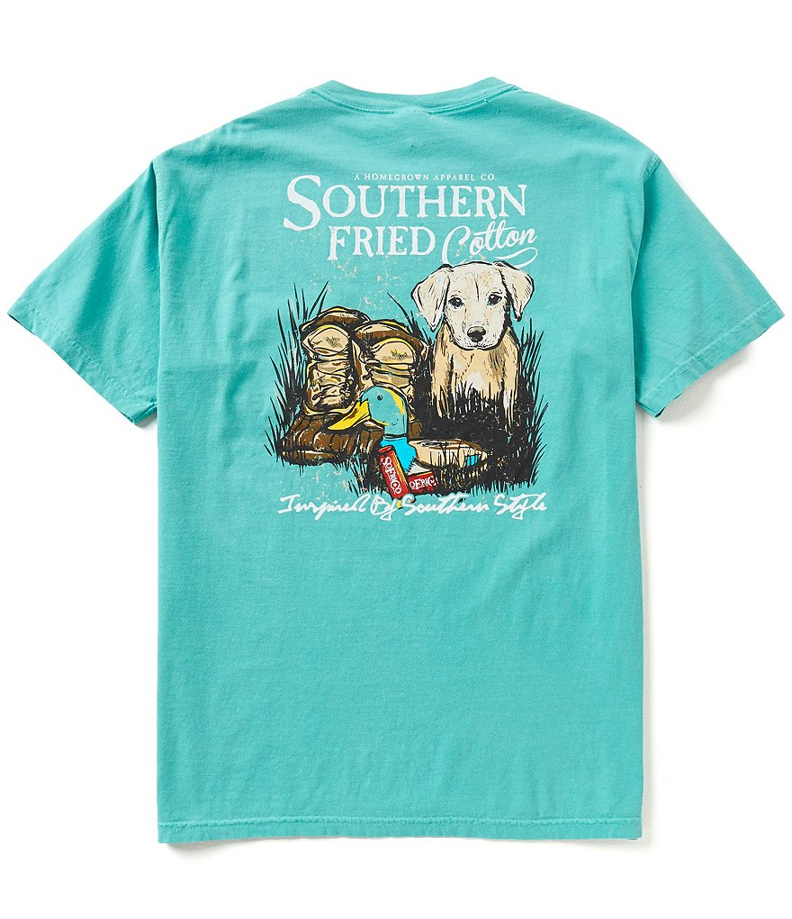 Southern Fried Cotton Men's Duck Boots Short-Sleeve Pocket Graphic Tee