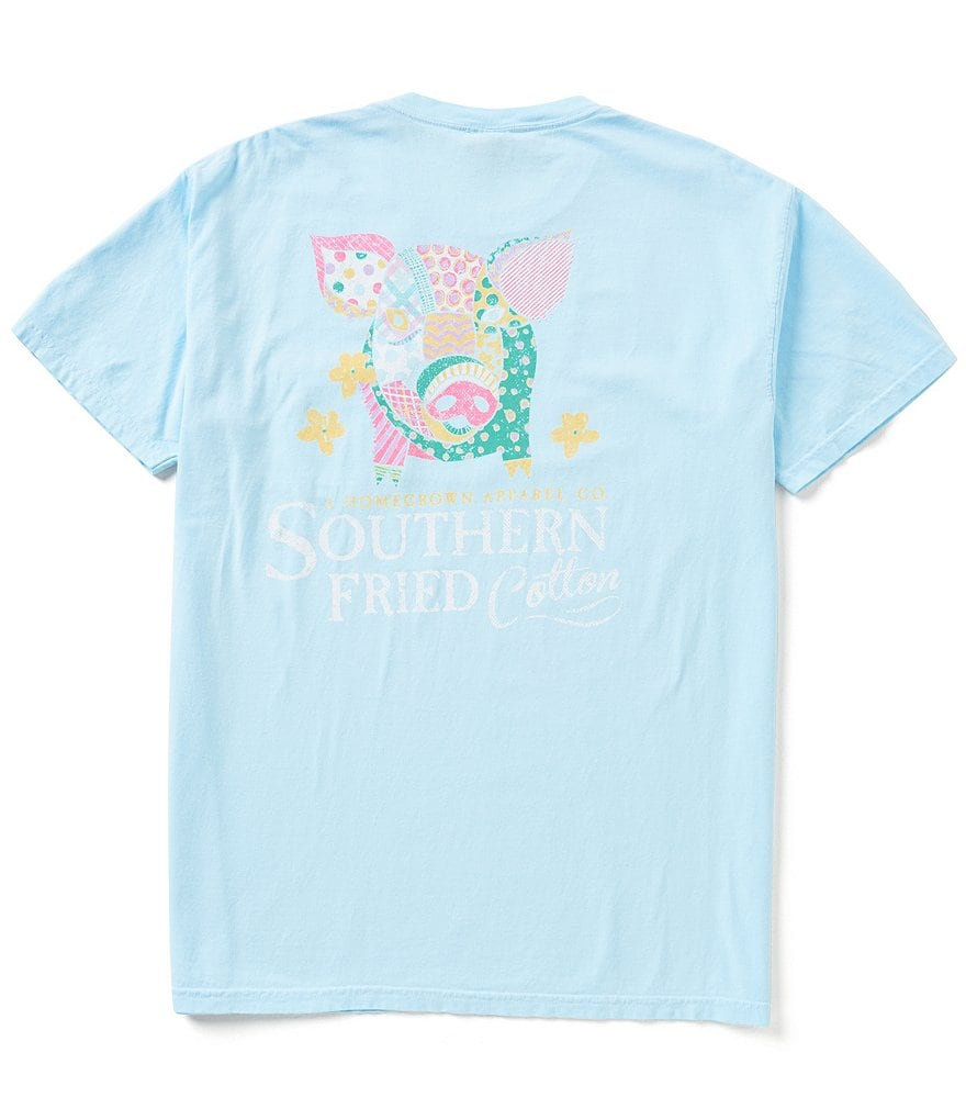 Southern Fried Cotton Men's Little Piggy Short-Sleeve Pocket Graphic Tee