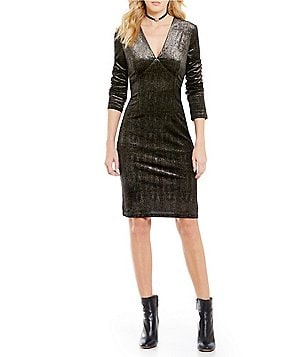 Sugarlips V-Neck Metallic Foil Long Sleeve V-Neck Bodycon Dress