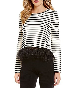 Sugarlips Striped Feather Trim Top