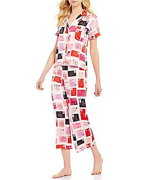kate spade new york Postcard-Print Charmeuse Pajamas