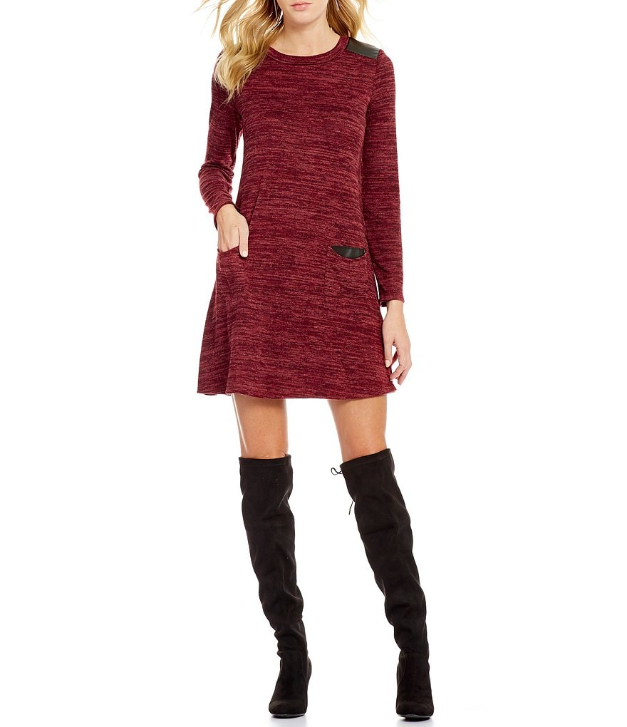 I.N. San Francisco Faux Leather-Trim Pockets Sweater Dress