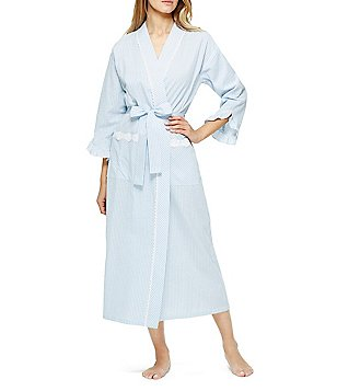 Eileen West Lace-Trimmed Striped Seersucker Wrap Robe
