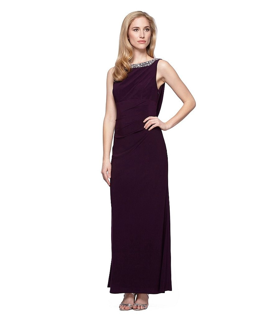 Alex Evenings Beaded-Neck Drape Back Gown