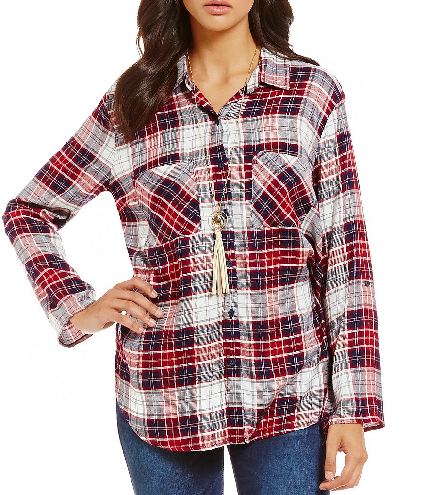Timing Roll-Tab Long Sleeve Button Front Plaid Top
