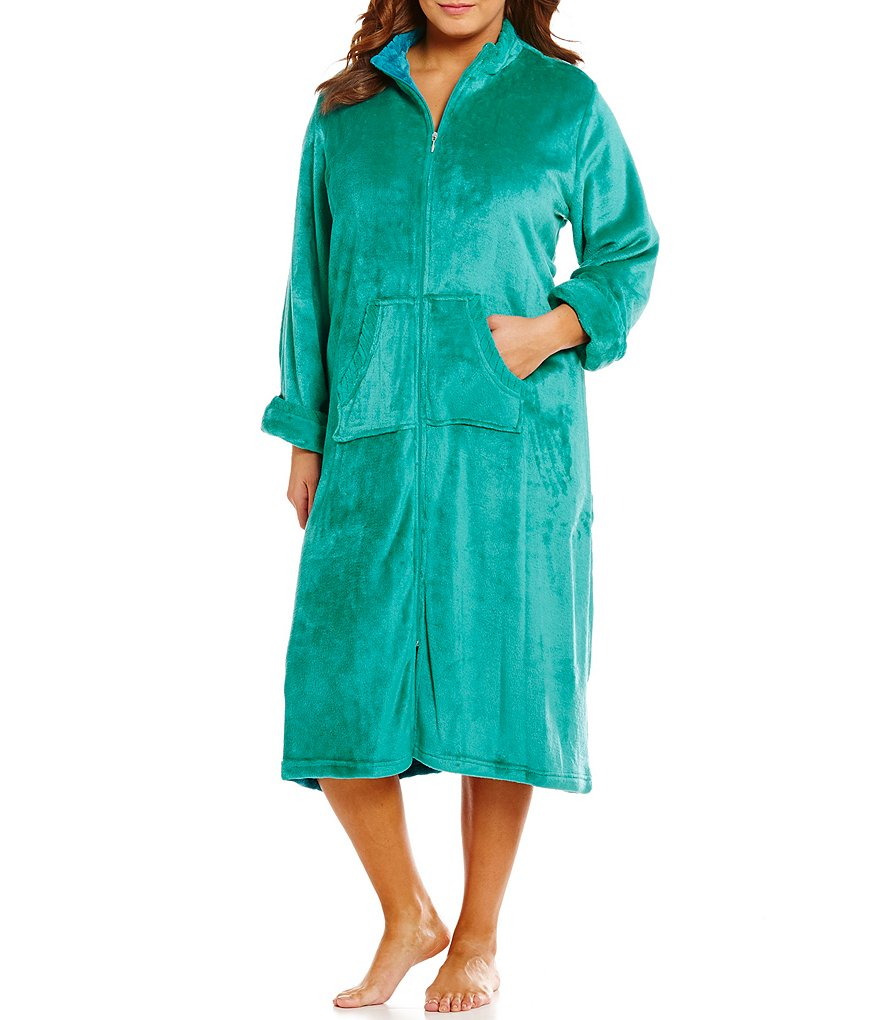 Miss Elaine Plus French Fleece Zip-Front Robe