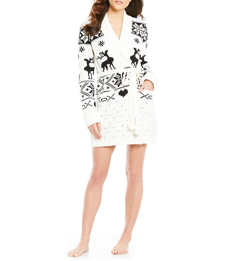 Betsey Johnson Cozy Sweater-Knit Wrap Robe