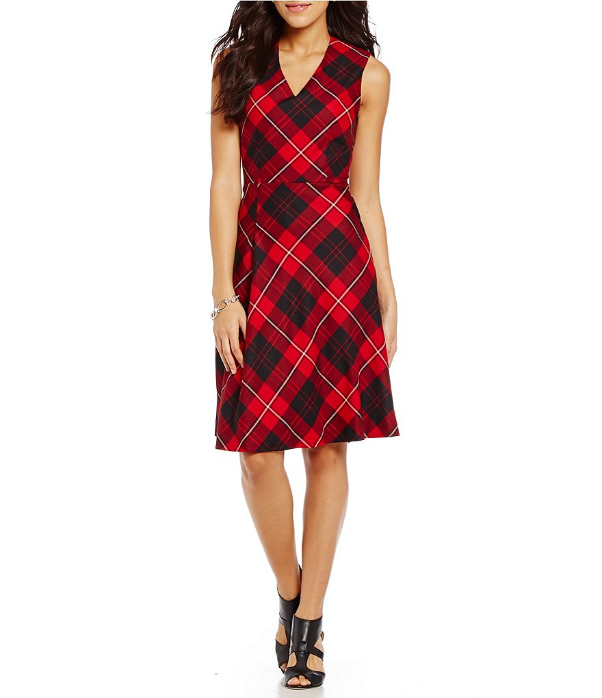 Pendleton Cunningham Tartan Plaid Fit-And-Flare Dress