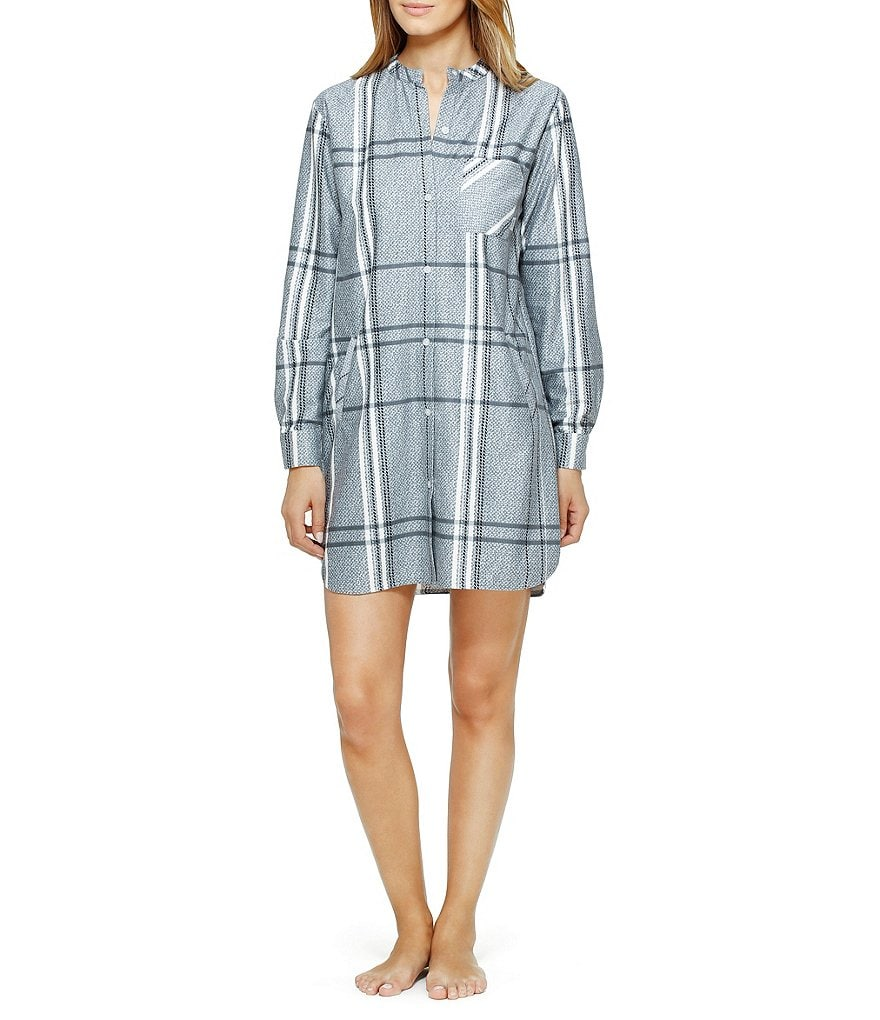 DKNY Plaid Fleece Nightshirt