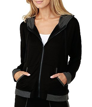 DKNY Hooded French Terry Lounge Jacket