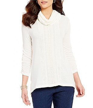 Multiples Cowl Neck High-Low Lace Detail Tunic