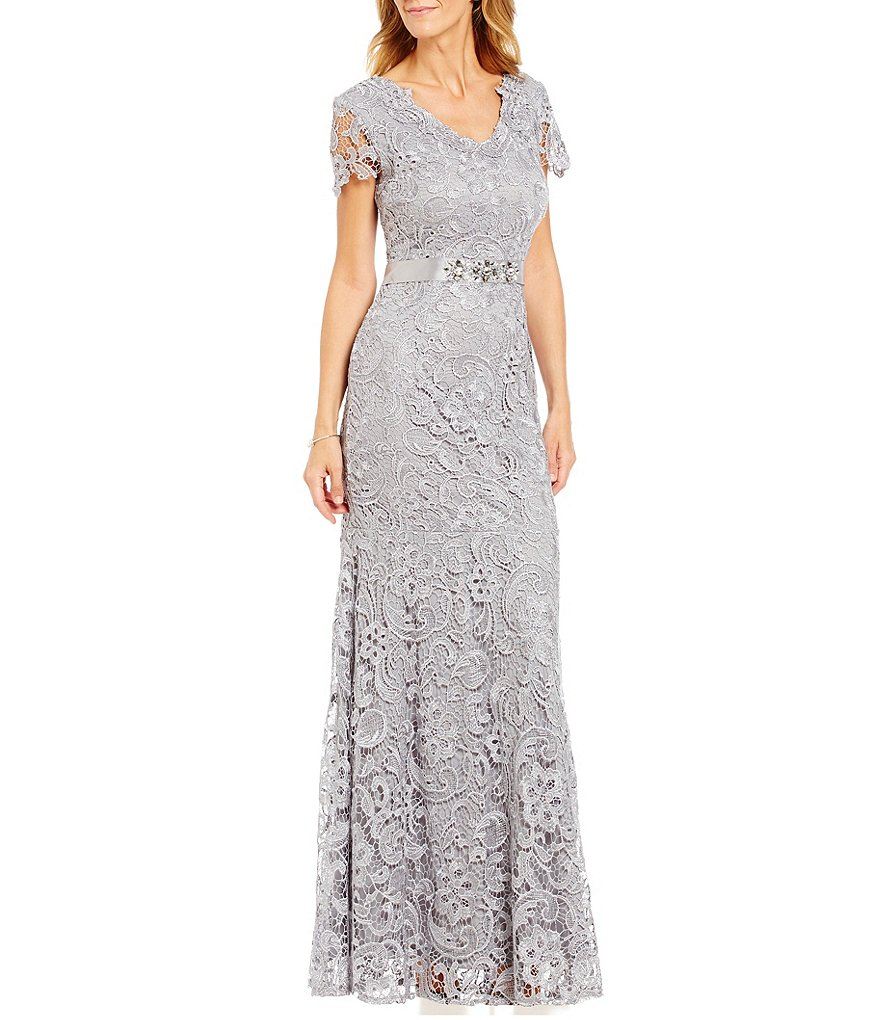 Emma Street Cap-Sleeve Scroll-Lace Belted Gown