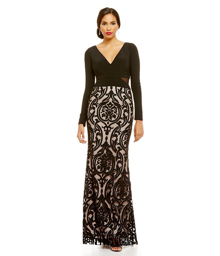 Xscape Long Sleeve Jersey Top Illusion Lace Bottom Gown