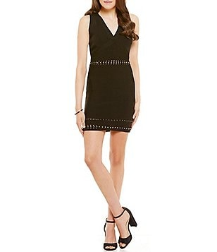Guess Mirage Metal Effects Studded Sleeveless V-Neck Sheath Sweater Dress