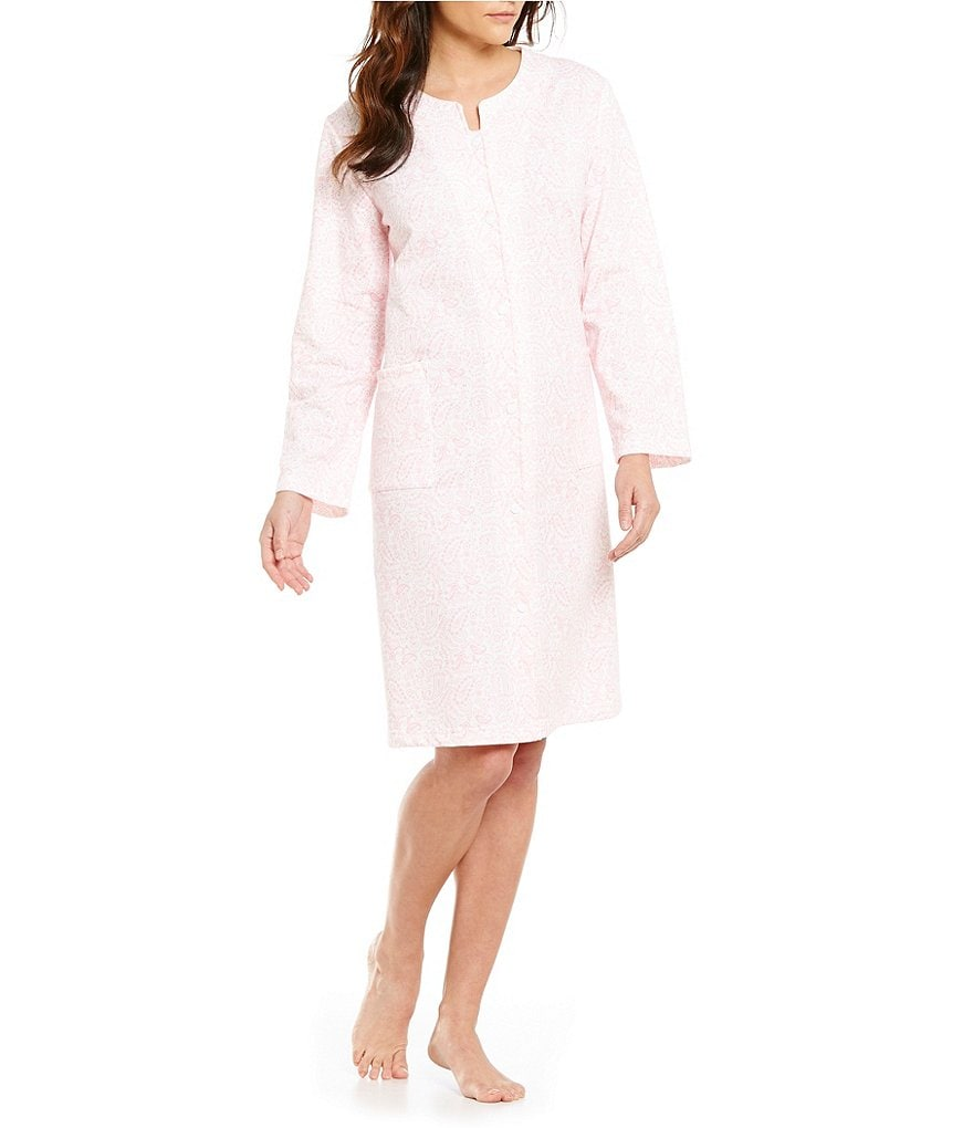 Miss Elaine Petite Paisley French Terry Grip-Front Robe