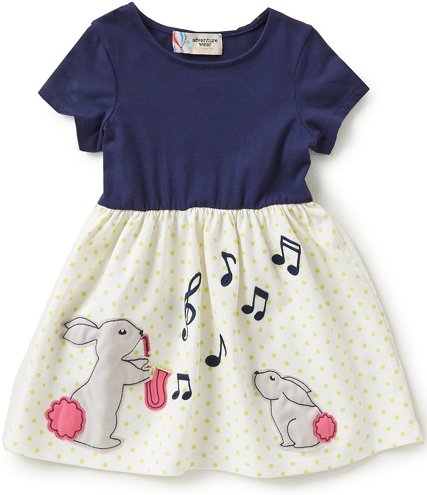 Adventure Wear by Copper Key Little Girls 2T-4T Musical Bunnies Dress