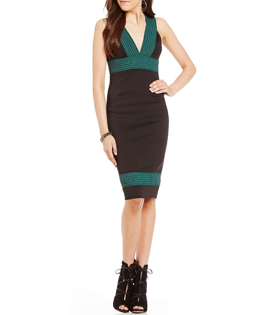 Guess Delmara Banded Beaded Midi Sheath Dress