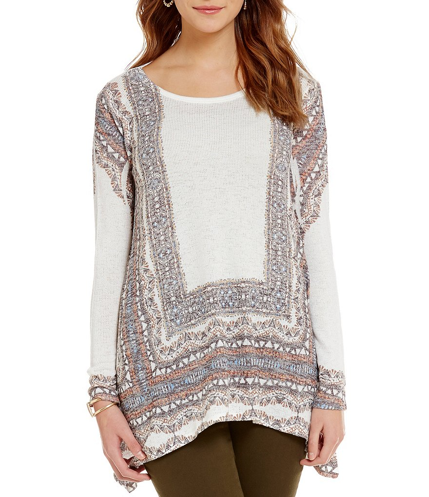 Chelsea & Theodore Border Print Long Sleeve Sharkbite Hem Tunic