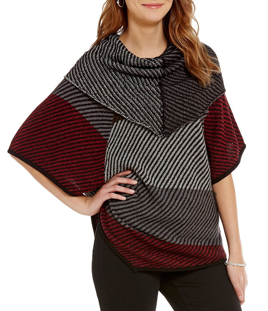 Chelsea & Theodore Cowl Neck Wool Poncho