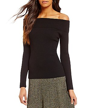 Cremieux Emmy Off-the-Shoulder Long Sleeve Solid Sweater