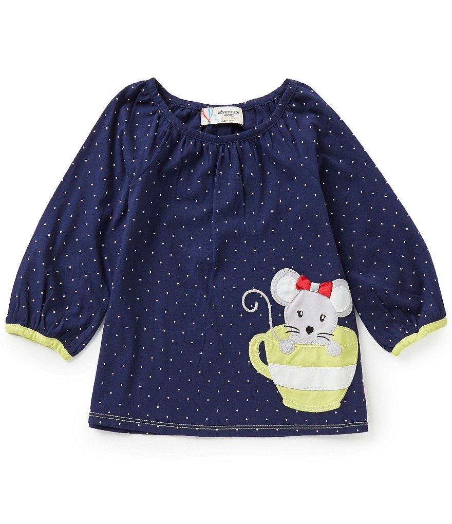 Adventure Wear by Copper Key Little Girls 2T-4T Tea Cup Embroidered Top