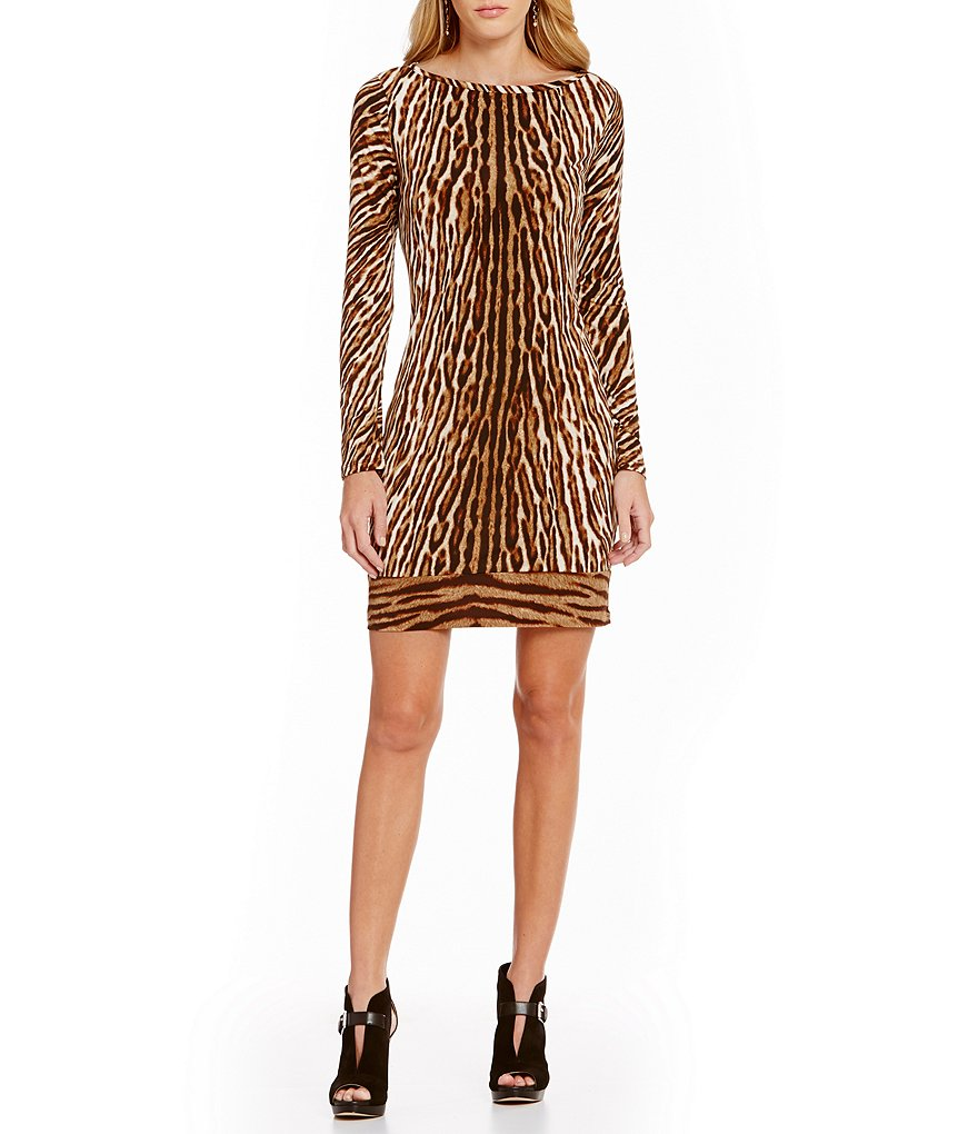 MICHAEL Michael Kors Mowani Leopard Border Print Matte Jersey Sheath Dress