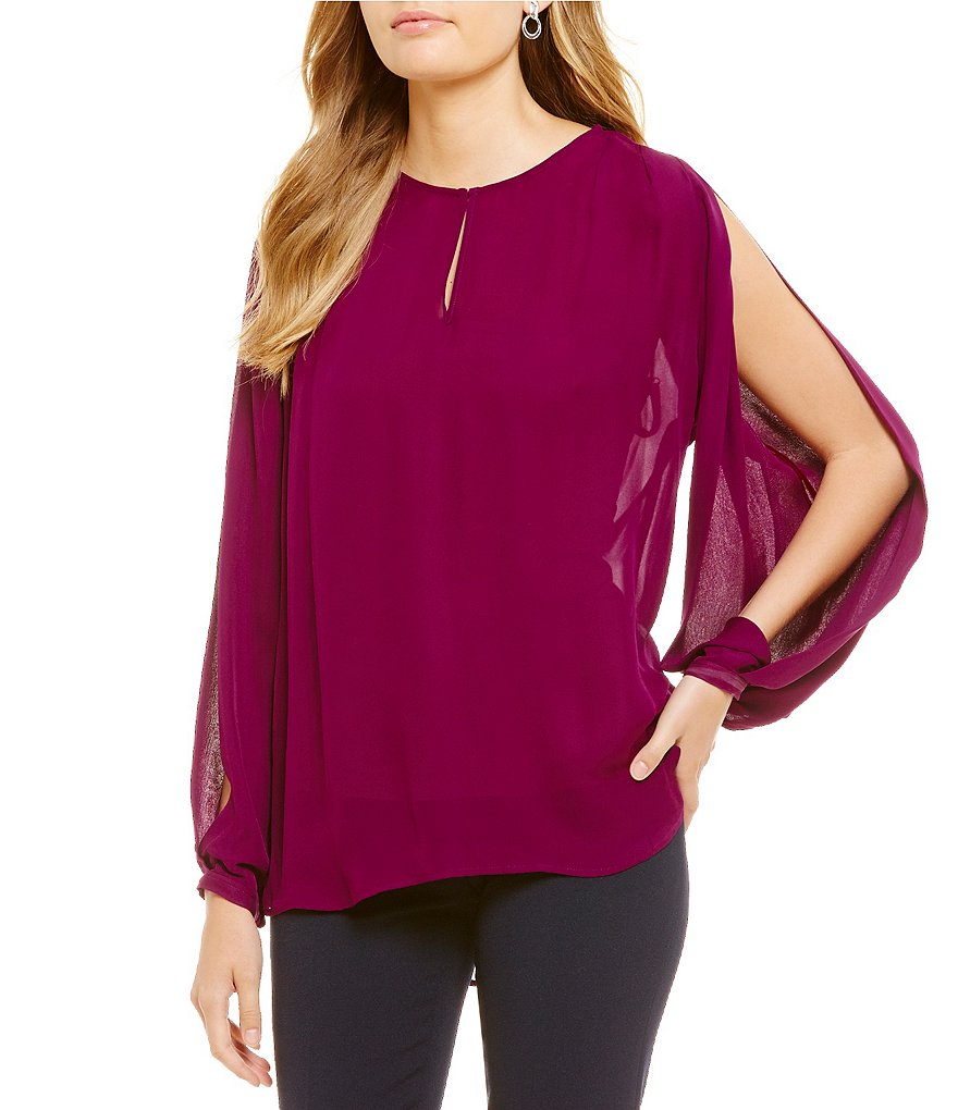Katherine Kelly Frida Long Sleeve Bar-Neck Silk Blouse