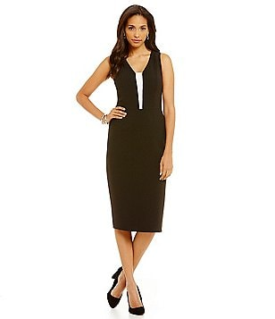 Katherine Kelly Shay Sleeveless Crepe Sheath Dress