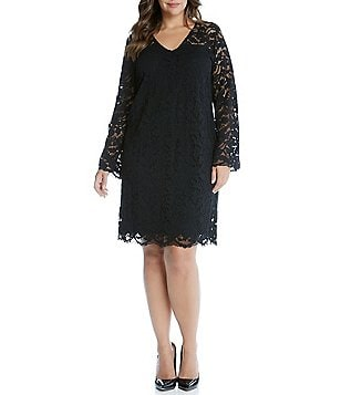 Karen Kane Plus V-Neck Bracelet Sleeve Lace Dress