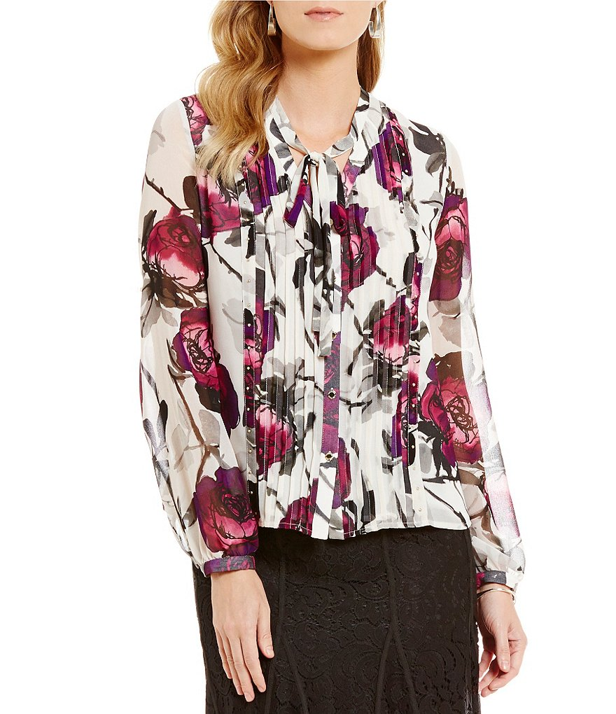 KARL LAGERFELD PARIS Printed Pleat Front Blouse