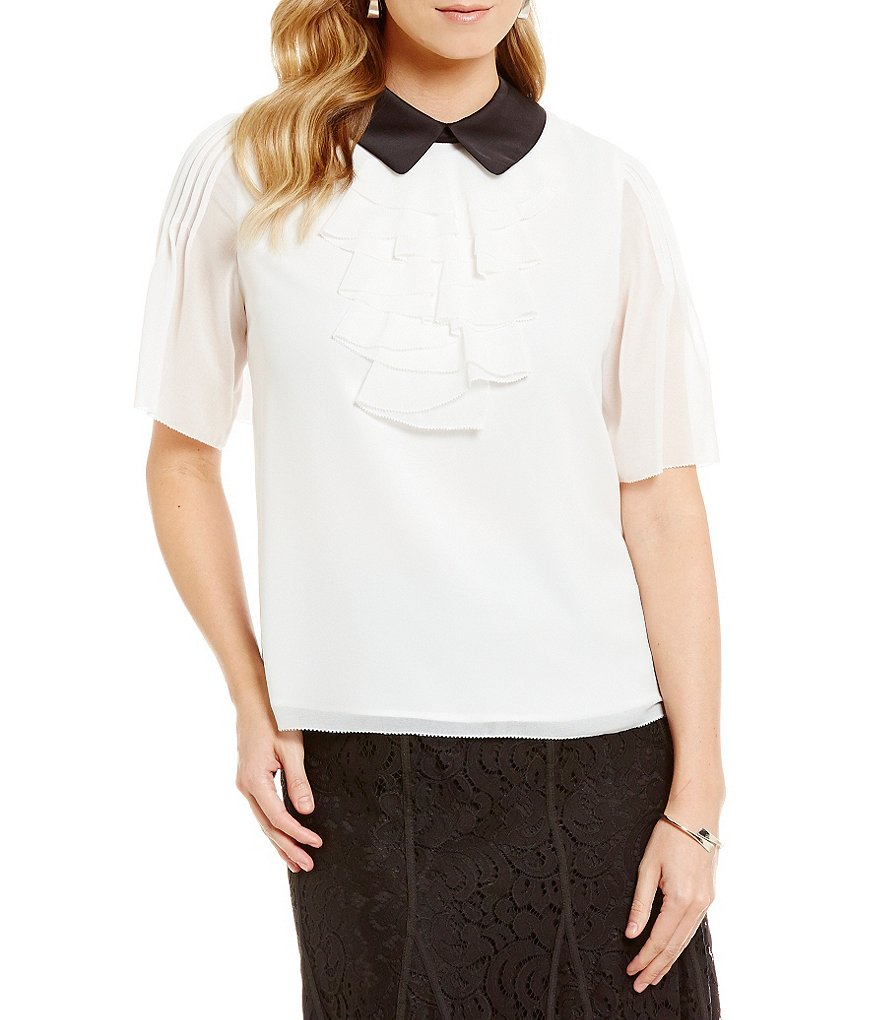 KARL LAGERFELD PARIS Short Sleeve Ruffle Front Blouse