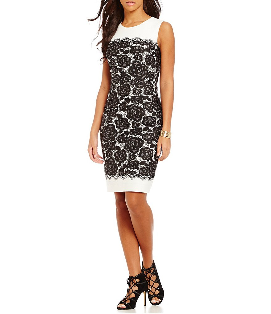 KARL LAGERFELD PARIS Lace Print Scuba Sheath Dress