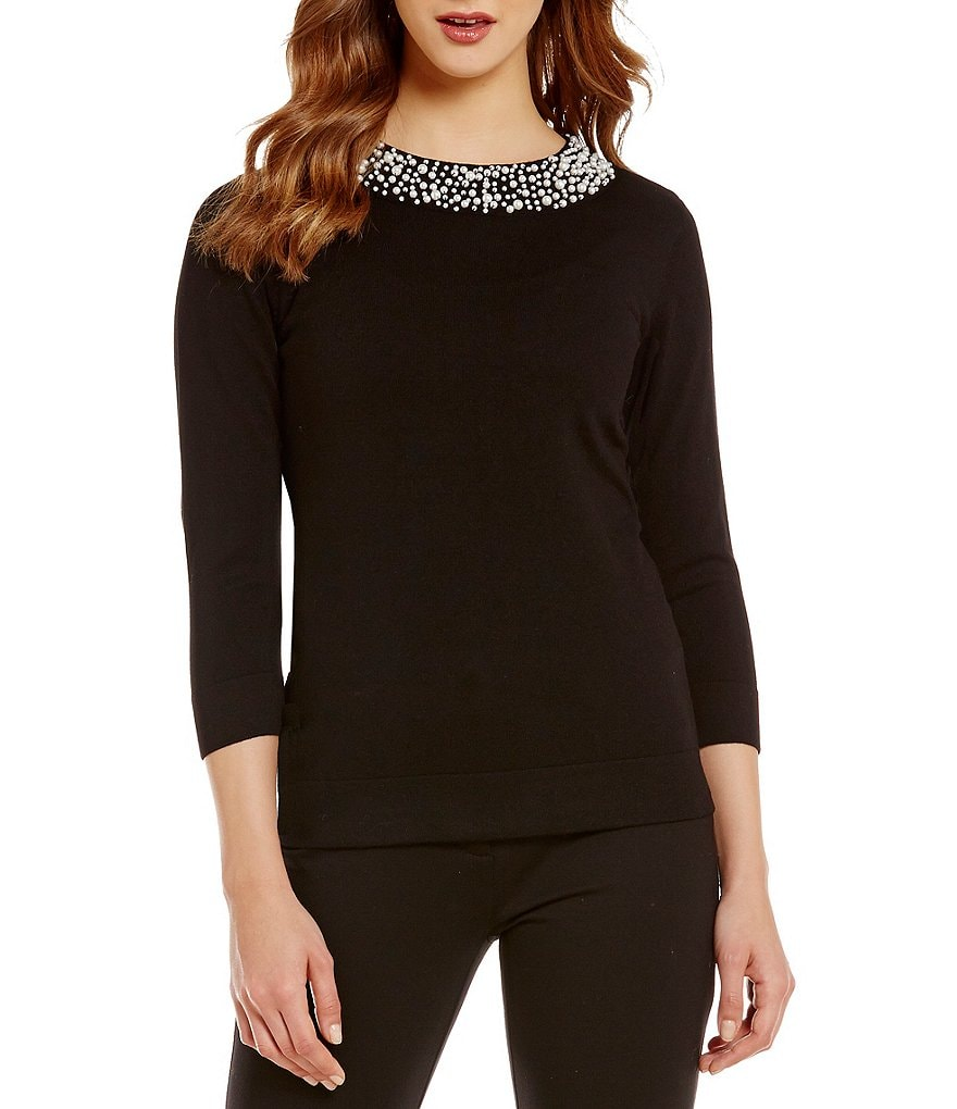 KARL LAGERFELD PARIS Pearl Embellished Crew Neck Sweater