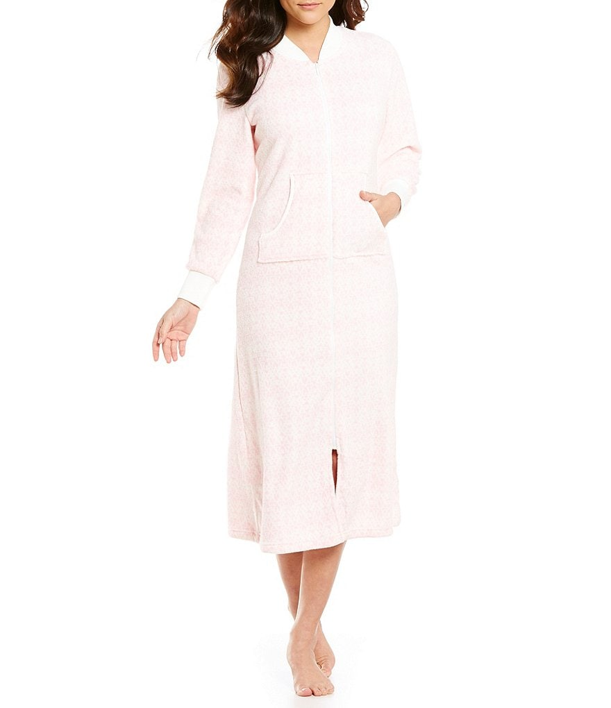 Miss Elaine Plush Fleece Zip-Front Robe