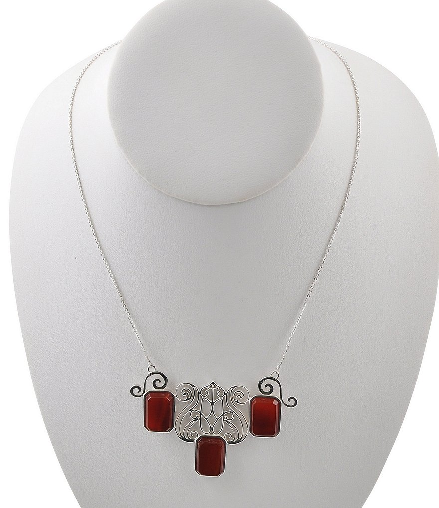 Calvary Sterling Silver & Carnelian Statement Necklace