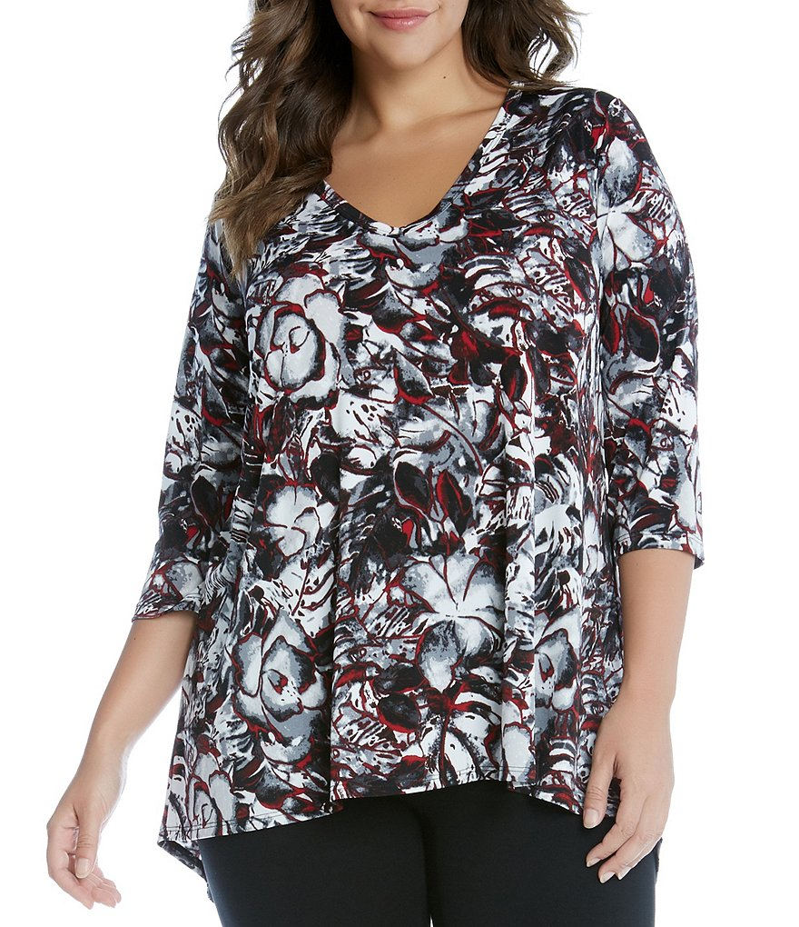 Karen Kane Plus Artistic Rose Print Hi-Low Hem Top