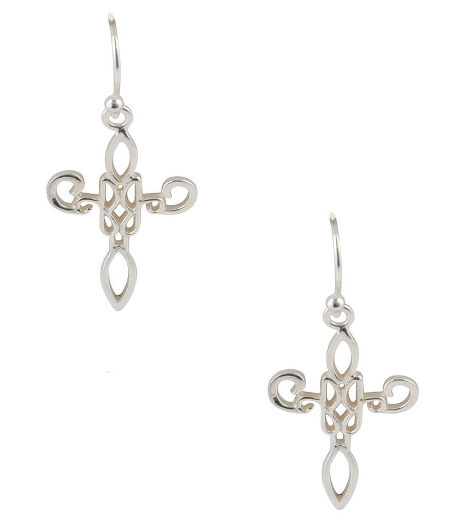 Calvary Sterling Silver J-Scroll Cross Drop Earrings