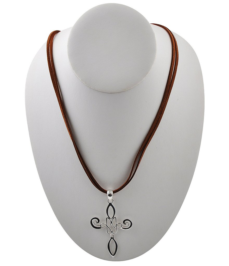 Calvary Leather & Sterling Silver J-Scroll Cross Pendant Necklace