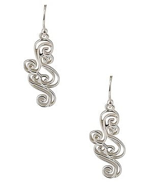 Calvary Sterling Silver Swirl Drop Earrings