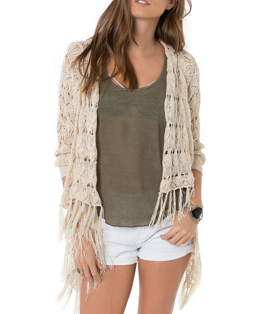 O´Neill Birk Fringe High-Low Open-Front Cardigan