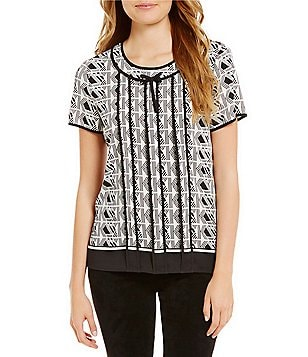 KARL LAGERFELD PARIS Crew Neck Short Sleeve Printed Blouse