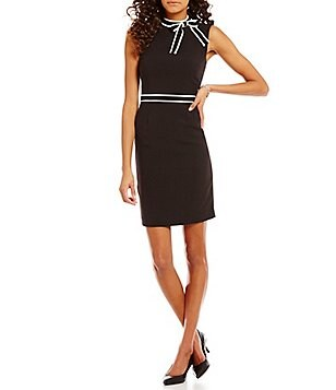 KARL LAGERFELD PARIS Bow Neck Sleeveless Sheath Dress