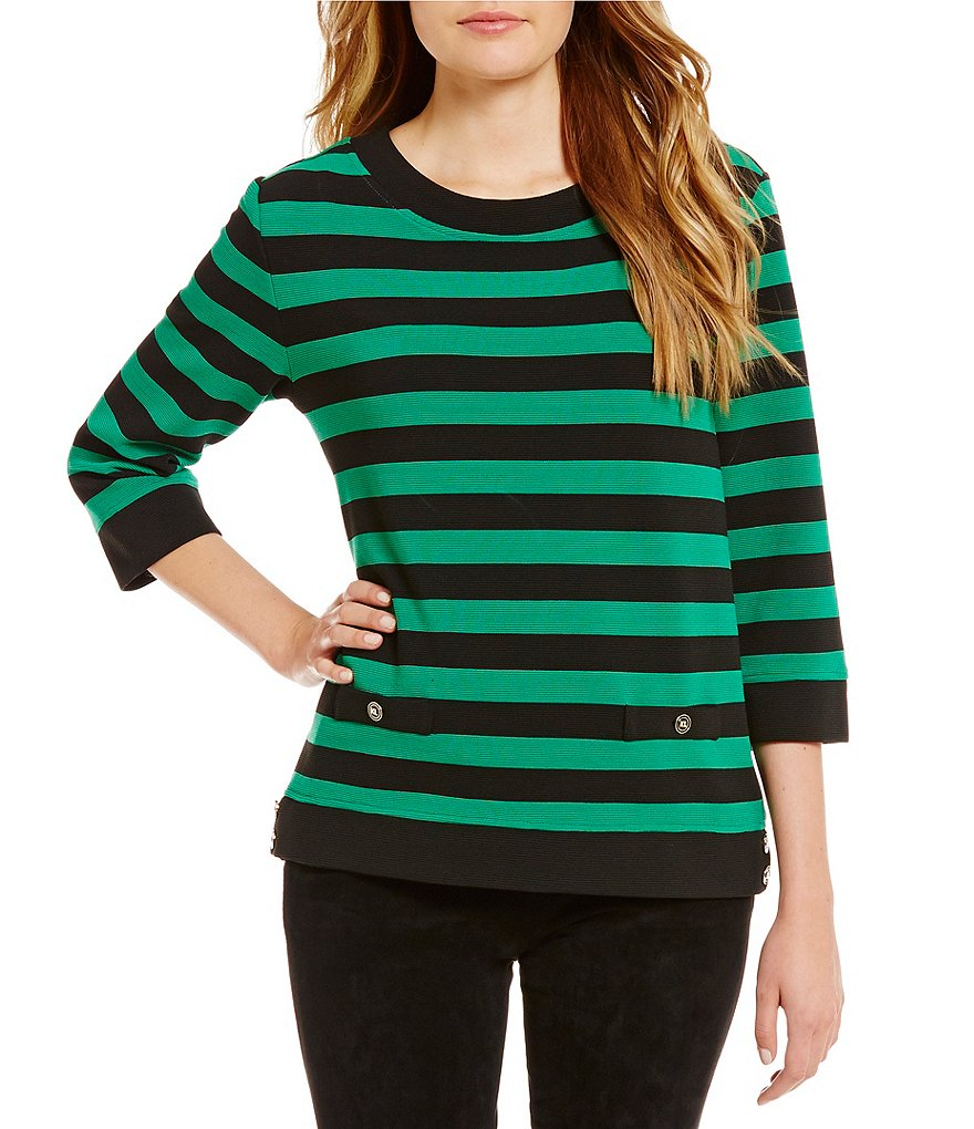 KARL LAGERFELD PARIS Striped Knit Pullover Top