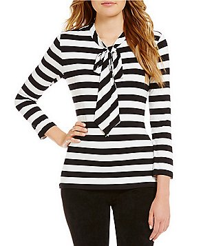 KARL LAGERFELD PARIS Striped Tie-Neck Blouse