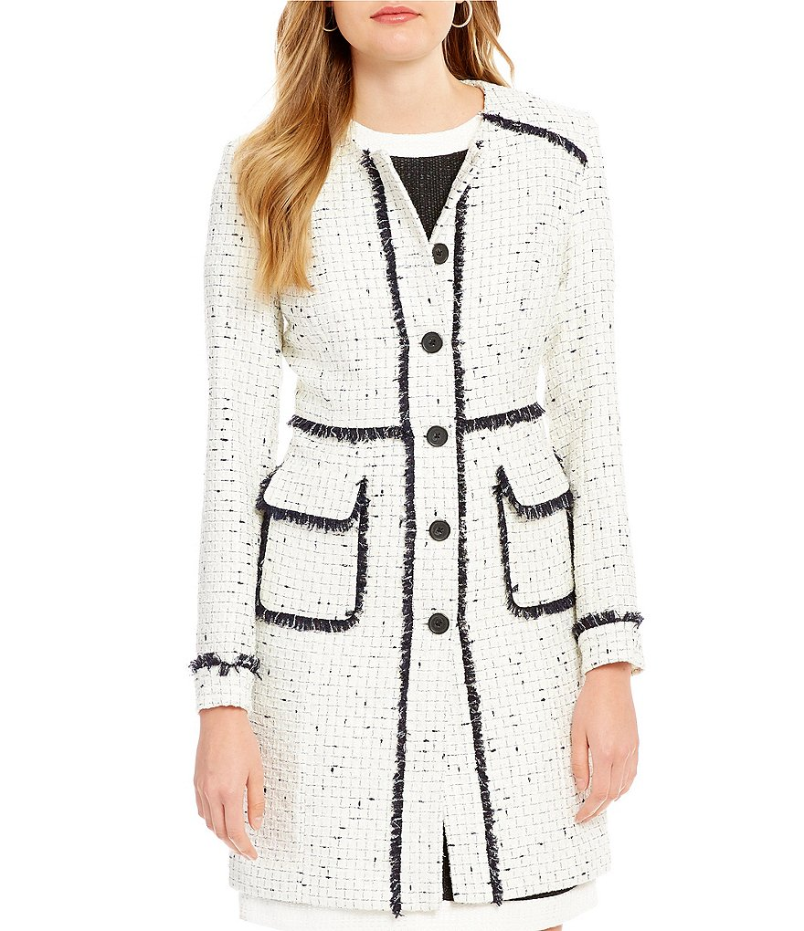 KARL LAGERFELD PARIS Tweed Collarless Wool-Blend Long Coat