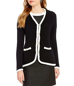 KARL LAGERFELD PARIS V-Neck Knit Cardigan