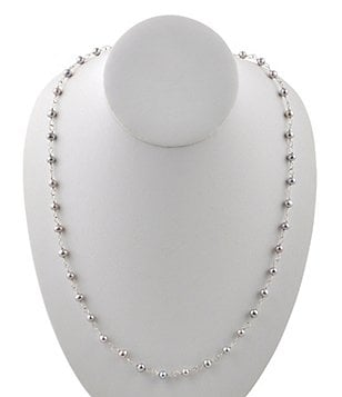Calvary Sterling Silver & Freshwater Pearl Long Rosary Bead Necklace